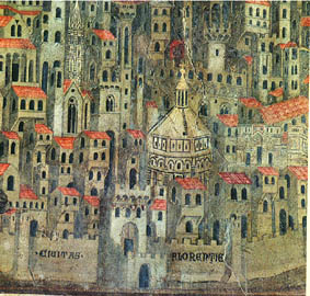 Detail of a fresco depicting Florence about the mid-1300s