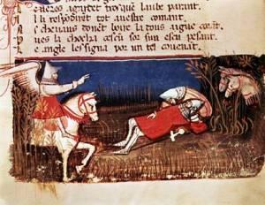 """A 14th century manuscript depict the """"Chanson de Roland."""""""
