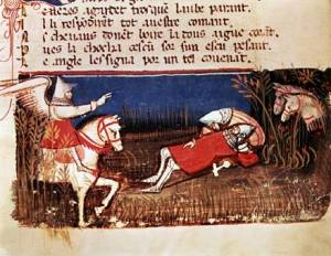 "A 14th century manuscript depict the ""Chanson de Roland."""