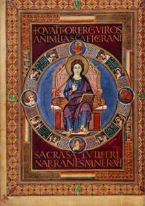 Christ in Majesty from the Lorsch Gospels (public domain image via Wikimedia Commons)