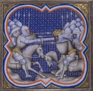 A 14th century depiction of the Battle of Roncevaux Pass