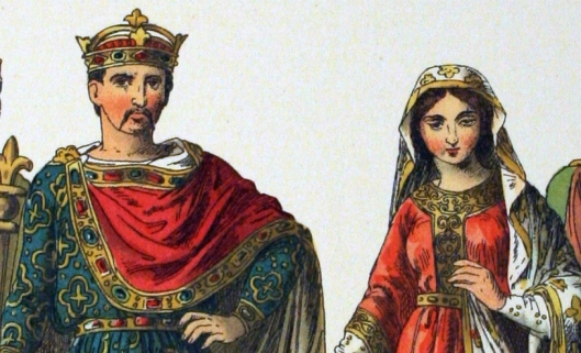 The 1882 Costume of All Nations depicts Charles the Bald and a woman of rank.