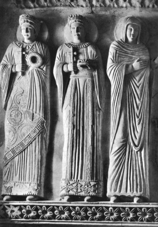 Martyrs as depicted in the Lombardy temple show what women might have worn (from Wikimedia Commons)