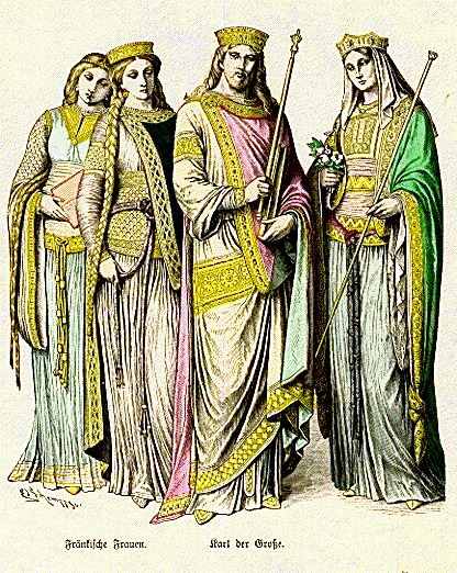 19th century illustration of court ladies