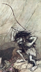 Detail from 1910 illustration by Arthur Rackham (public domain, via Wikimedia Commons)